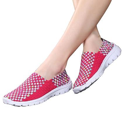 Calzado Chancletas Tacones Calzado Deportivo Casual para Mujer Moda Zapatos Planos Transpirables Tejidos Sandalias Zapato de