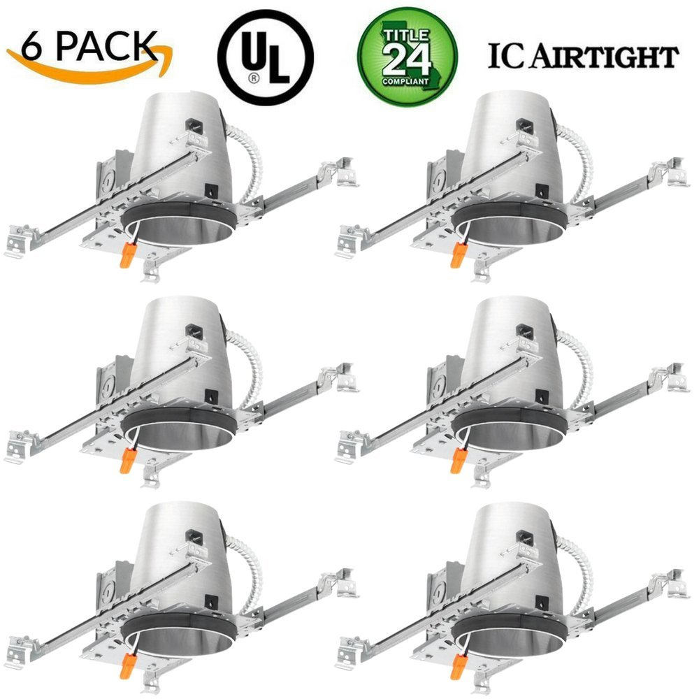6 Pieces 4'' New Construction LED Can Air Tight IC Housing LED Recessed Lighting