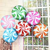 """Simple polymer 18"""" Colorful Lollipop Balloons Candy Foil Balloons Pinwheel Mylar Balloons for Party Decoration, Pack of 24"""