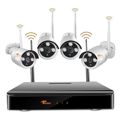 Camaras De Vigilancia WiFi,CORSEE 8 Canales Inalámbrico De Videovigilancia NVR 4 Piezas 1080P Cámaras