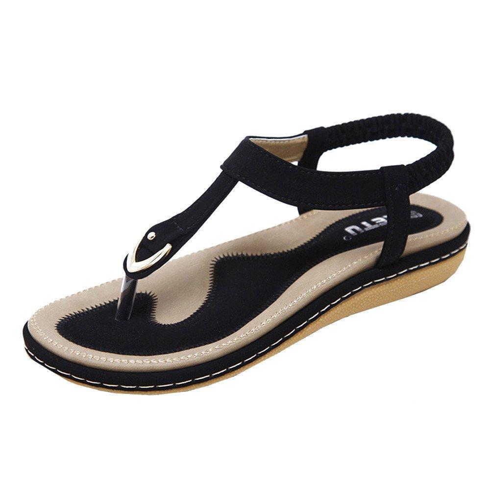 Shusuen Women's Flat Sandals Summer Beach Flip Flops Thong T-Strap Rhinestone Beads Slipper Bohemia Elastic Slip On Black by Shusuen_shoes