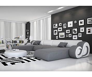 Couch Constanza Grau Weiss 485x242 Mit Led Und Kissen Wohnlandschaft