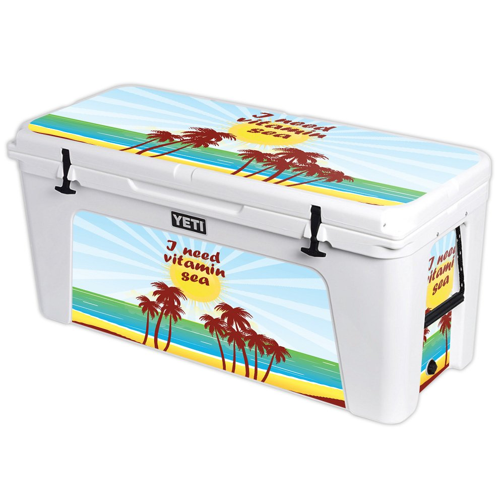 MightySkins (Cooler Not Included) Skin Compatible with YETI Tundra 160 qt Cooler - Vitamin Sea   Protective, Durable, and Unique Vinyl Decal wrap Cover   Easy to Apply   Made in The USA