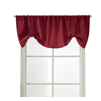 HomeyHo Rod Pocket Cafe Curtains Half Curtains For Kitchen Windows Tie Up  Short Curtain Valances For Windows Solid Tier Window Curtains For Girls ...