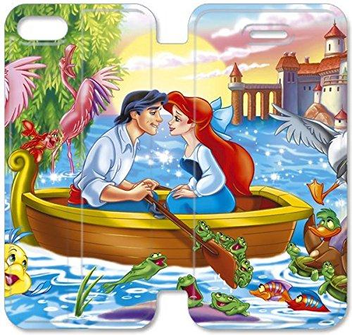 Coque iPhone 5 5S Coque Cuir, Klreng Walatina® PU Cuir de portefeuille de couverture Coque pour Coque iPhone 5 5S Design By Little Mermaid Téléphone P1T6Un