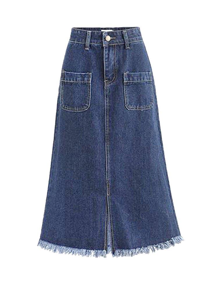Women's High Waist A Line Denim Skirt Split Fringe Hem Midi Jean Skirt Light Blue Tag 4XL-US XL