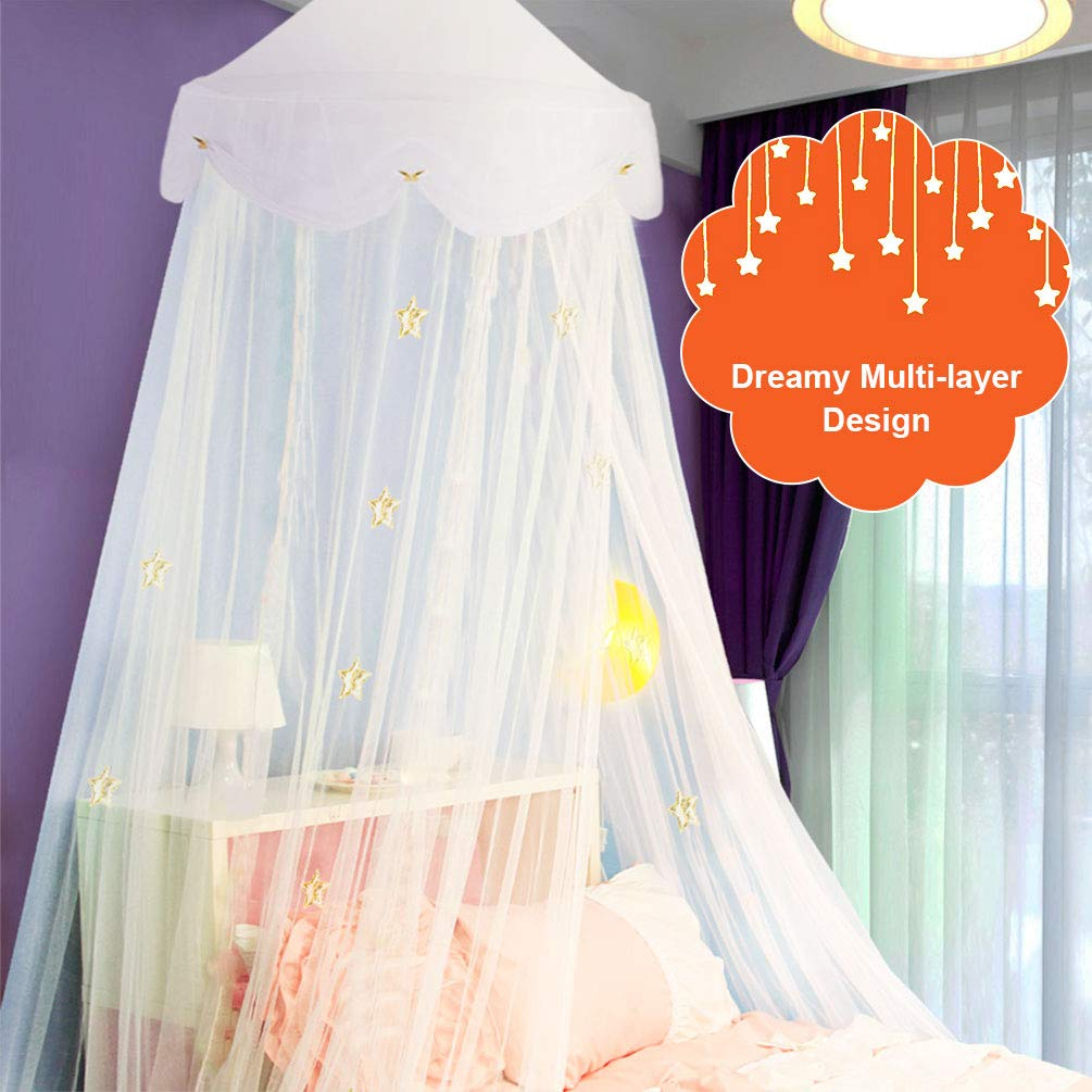 Uarter Boho Princess Mosquito Net, Bed Canopy Girls/Boys Mosquito Net Bed Conical Curtains Kids Play Tent with Stars or Luminous Butterflies for Kids, Installation-Free, Blue/White (White-1) by Uarter (Image #3)