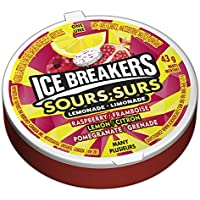ICE BREAKERS Sours Mints, Raspberry, Lemon, Pomegranate, 6 Count (Packaging May Vary)