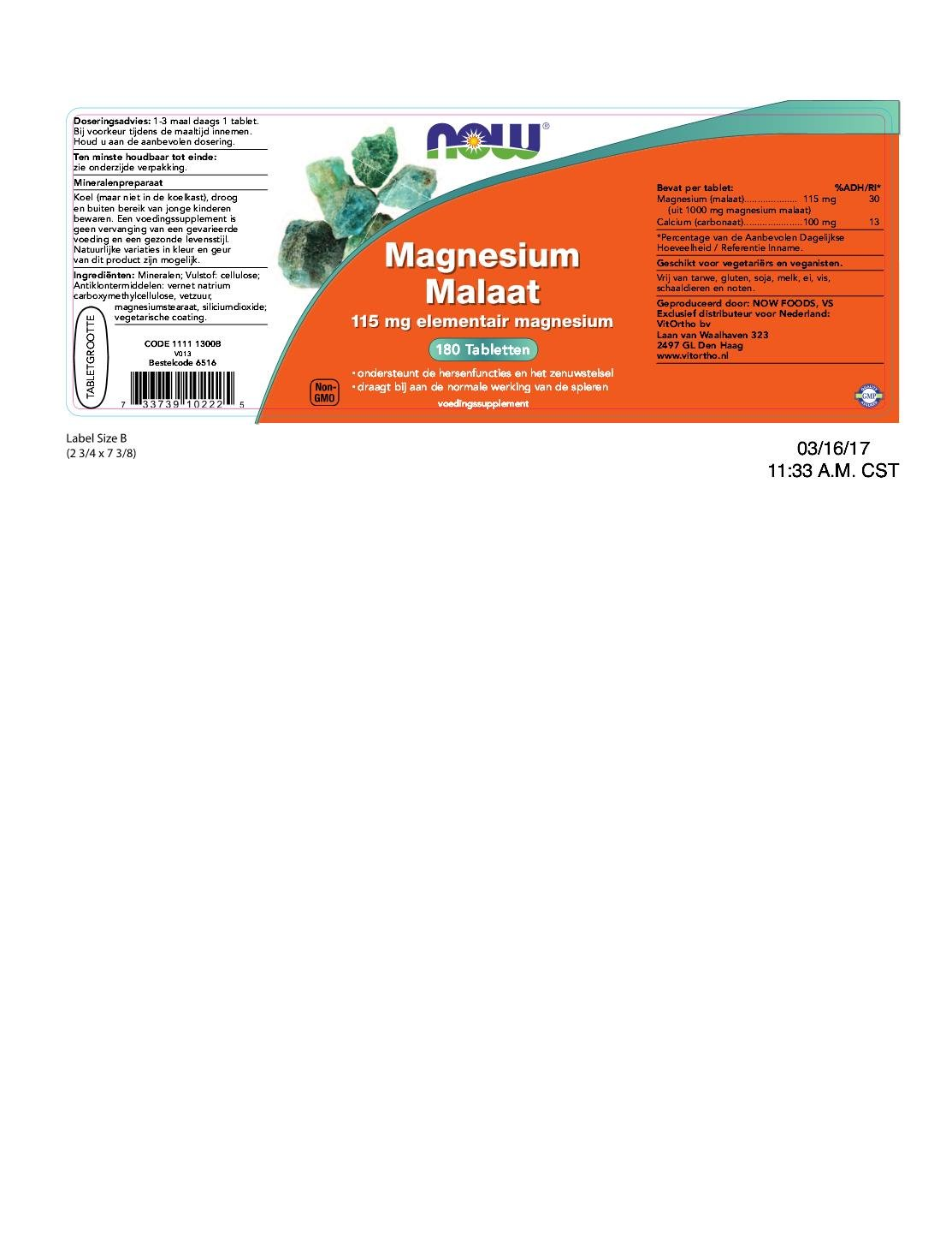 Now Foods | Malato de Magnesio (magensium malate) | 1.000 mg ...