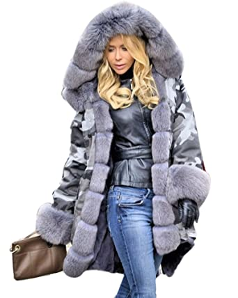 d13df94a39c Roiii Plus Size Womens Military Hooded Warm Winter Coats Faux Fur Lined  Parkas (Small