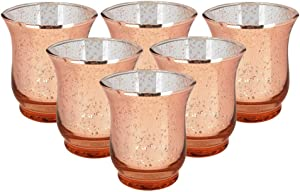 Just Artifacts Mercury Glass Hurricane Votive Candle Holder 3.5-Inch (6pcs, Speckled Rose Gold) - Mercury Glass Votive Tealight Candle Holders for Weddings, Parties and Home Décor