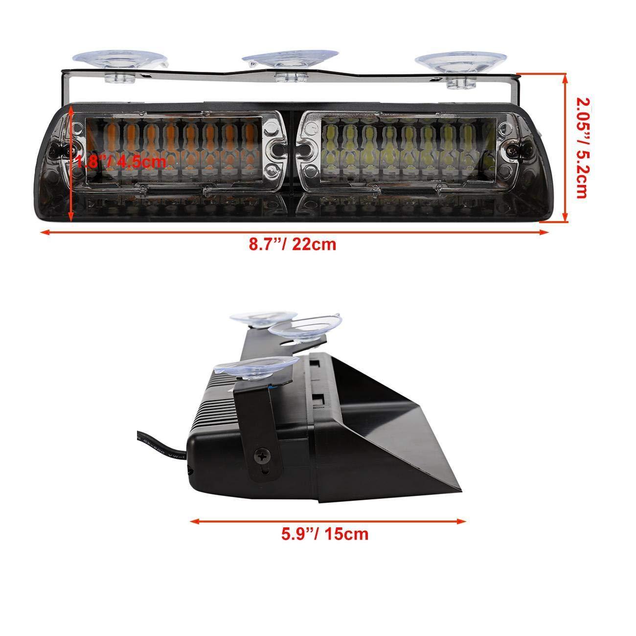 Auxbeam Amber Led Mini Bar Emergency Enforcement Hazard Warning Flash Strobe Lights with Magnetic Base 4350355503