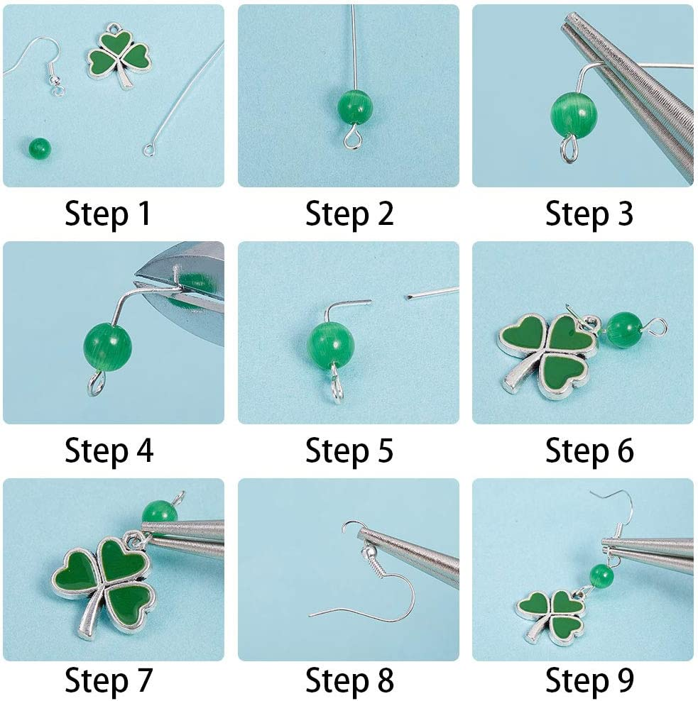 SUNNYCLUE 1 Scatola di Rugby Trifoglio Verde Quadrifoglio Amuleti Fortunati Ciondola Gli Orecchini St Patricks Day Creazione Gioielli Fai da Te Fai 6 Paia di Orecchini E 2 Fili di Bracciali
