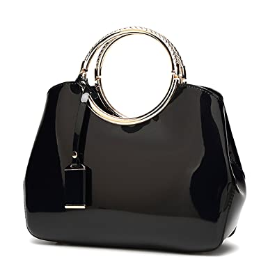 7a7154129a54 Womens Black Handbags Ladies Top Handle Bags Patent Leather Stylish Tote  Shoulder Bags Purse (Black