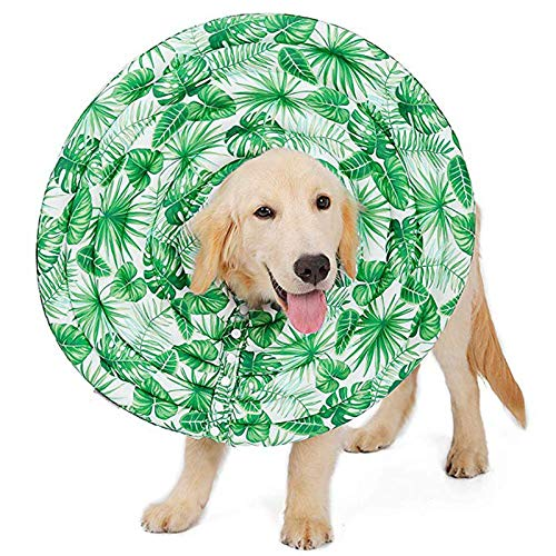Comfortable Collar Button Protection Design Collar Adjustable Size Recovery for Dog & Cat Adjustable Washable,Green,M by DOG CONE