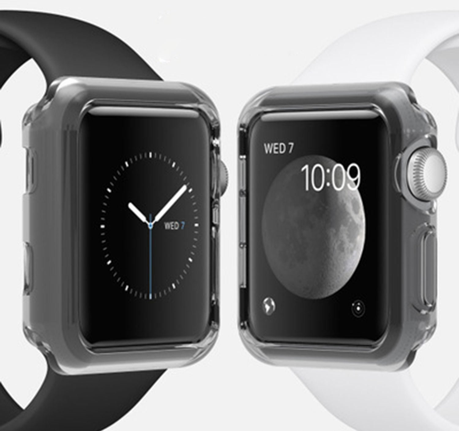 Silicone TPU Bumper Protective Cover Case For Apple Watch Series 3 2 42mm (GRAY BLACK)