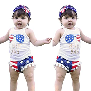 3d46153690 Amazon.com  Joint Toddler American Flag Clothes Baby Boys Girls Stars  Striped Vest Tops+Shorts 4th of July Outfits Set  Clothing