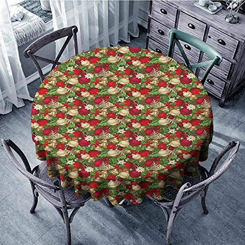 ScottDecor Print Round Tablecloth Wrinkle Free Tablecloths Christmas,Tree Branches Balls Bells Cones Poinsettia Flowers Mistletoe Berry, Gold White Red and Green Diameter 60