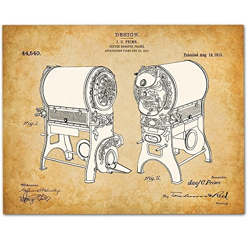 Coffee Roaster - 11x14 Unframed Patent Print - Great Gift for Coffee Lovers Coffee Shops ()