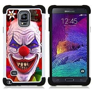 For Samsung Galaxy Note 4 SM-N910 N910 - Clown Evil Smile Devil Red Eyes Creepy /[Hybrid 3 en 1 Impacto resistente a prueba de golpes de protecci????n] de silicona y pl????stico Def/ - Super Marley Shop