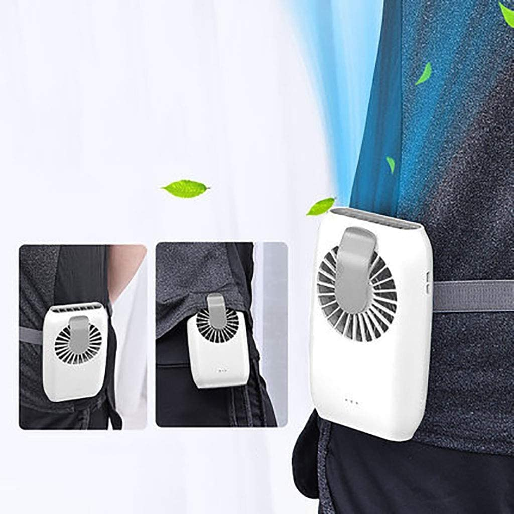 Mini Waist Clip on Fan,Waist Cooling Fan,Portable hands-free necklace and wrist fan with 15H Working Time, 3 Speeds Mode, and USB Rechargeable Battery Operated,for Home Office Outdoor Travel,(White)