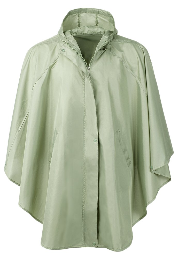 QZUnique Women's Waterproof Packable Rain Jacket Batwing-Sleeved Poncho Raincoat Green