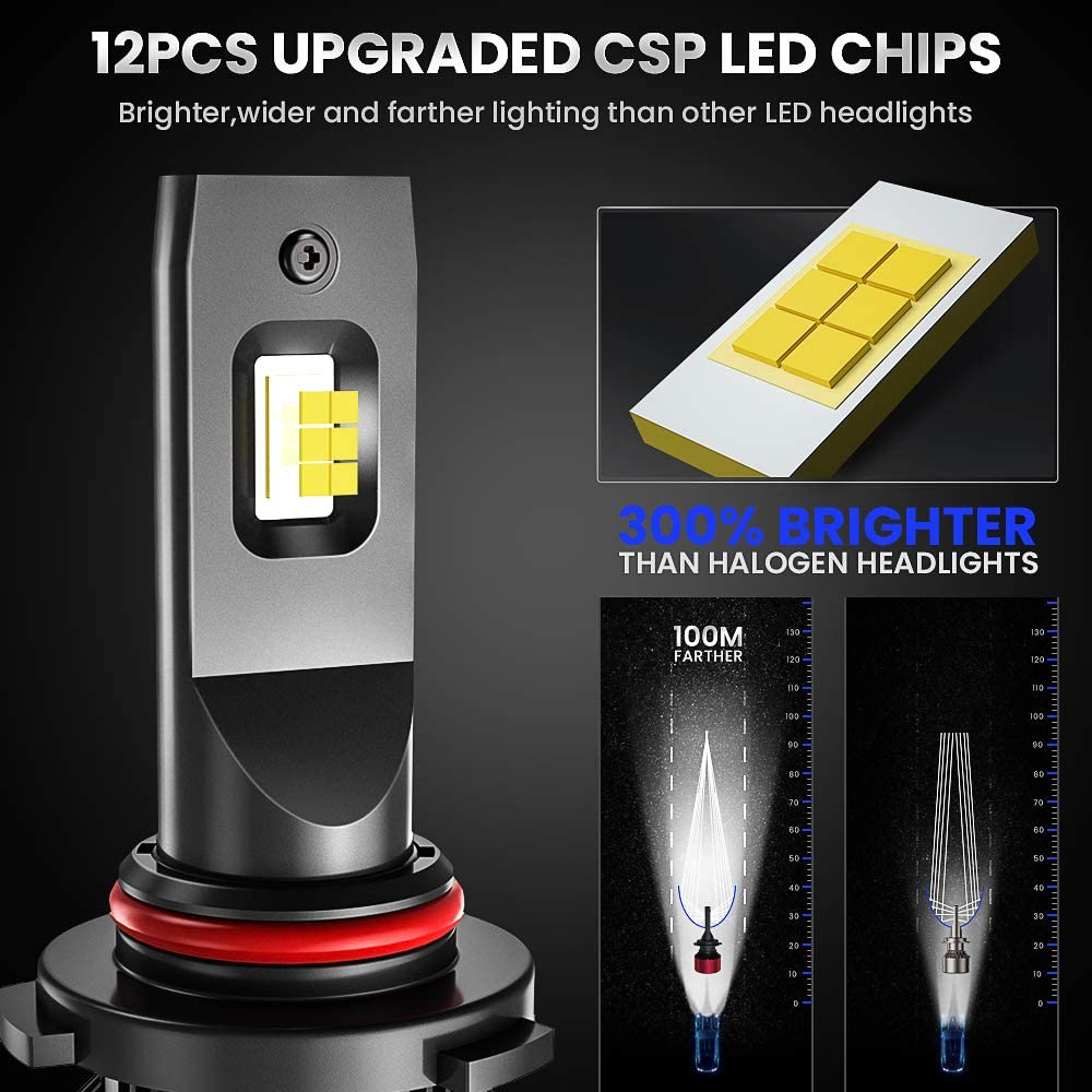 AOLEAD 80W High Power 16000LM 6000K Extremely Bright CSP Chips HB3 Conversion Kit 9005 Led Headlight Bulbs