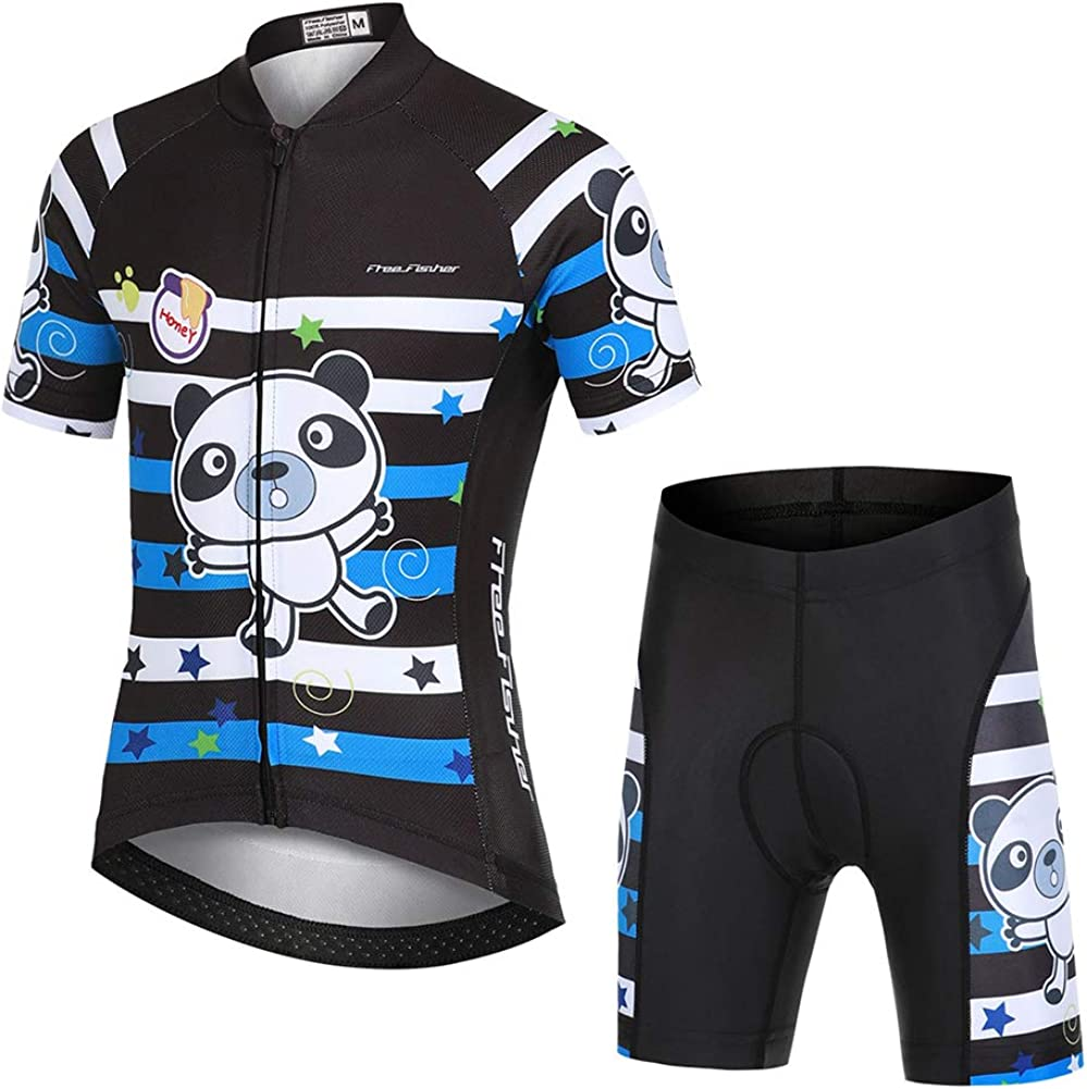 FREE FISHER Kids Cycling Jersey Set with 3D Padded Shorts Bike Top
