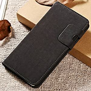 50 pcs/lot New 2015 Soft Feel PU Leather Case For iPhone 6 Plus 5.5 Inch Flip Stand Wallet Cover With Card Holder Wholesale DHL --- Color:Black