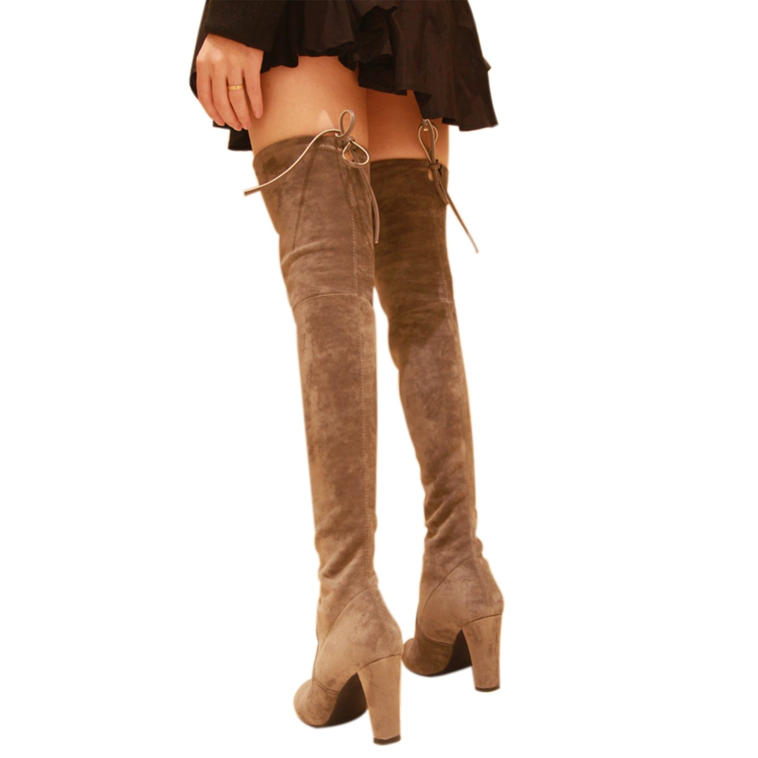 13b00c1f2e8 Galleon - Kaitlyn Pan High Heel Grey Over The Knee Boots(KP-OKB-HL-GR-40)