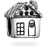 Silver Sweet Home Charm Bead Fits Women's Charm Bracelets
