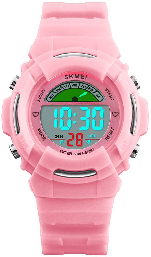 Kids Sports Colorfully Digital Waterproof Watch Outdoors Alarm LED Chronograph EL Luminous Quartz Watches (Pink) by HUNRUY
