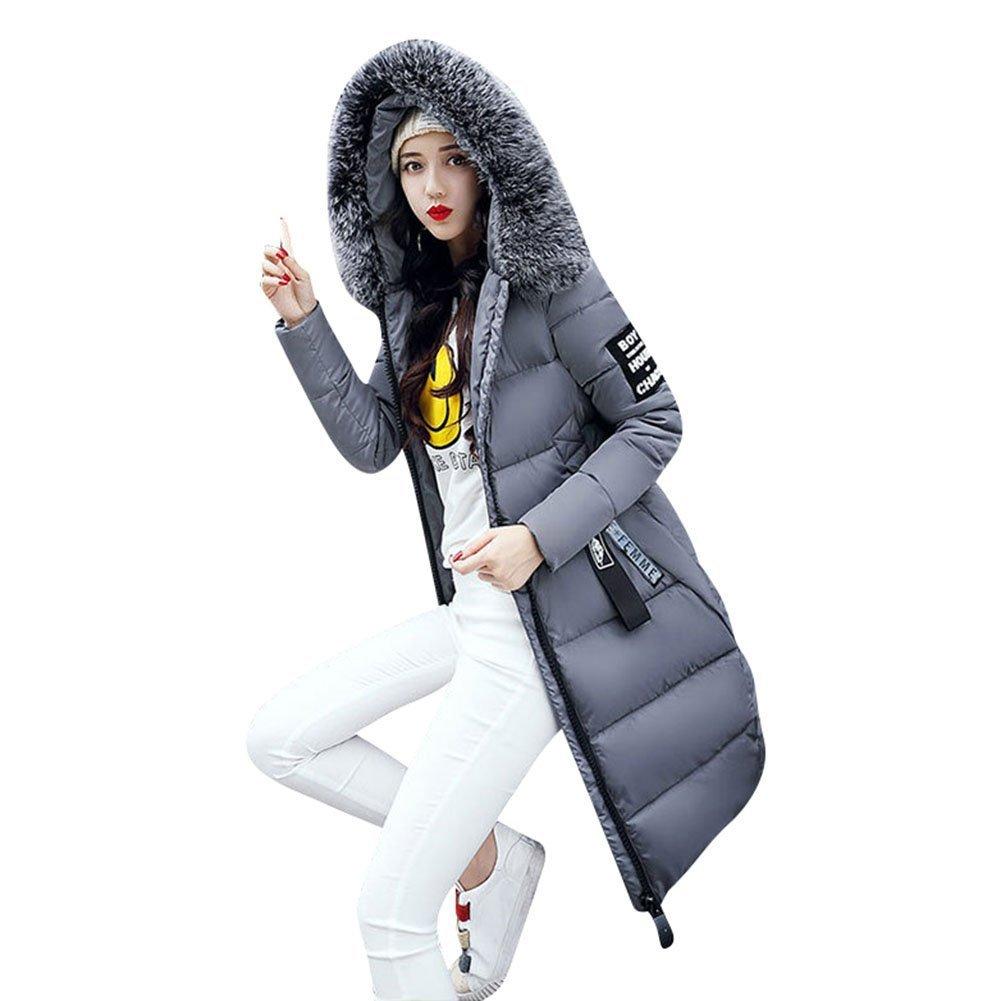 Donne cappuccio inverno Mantieni caldo giù giacca cappotto Piumino con cappuccio - Piumino lungo Parka
