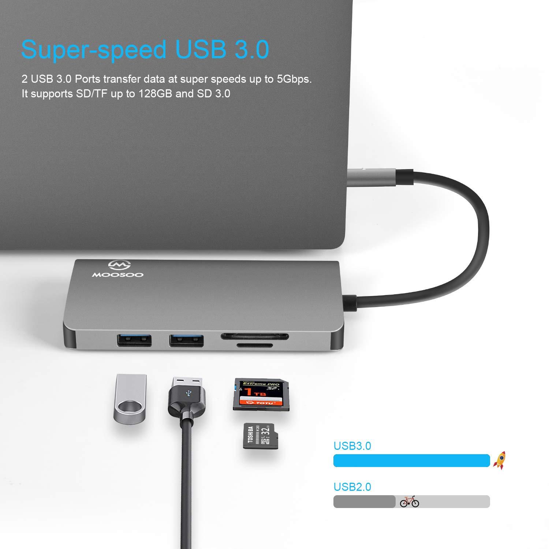 Amazon.com: MOOSOO - Hub USB C, adaptador 9 en 1 tipo C con ...