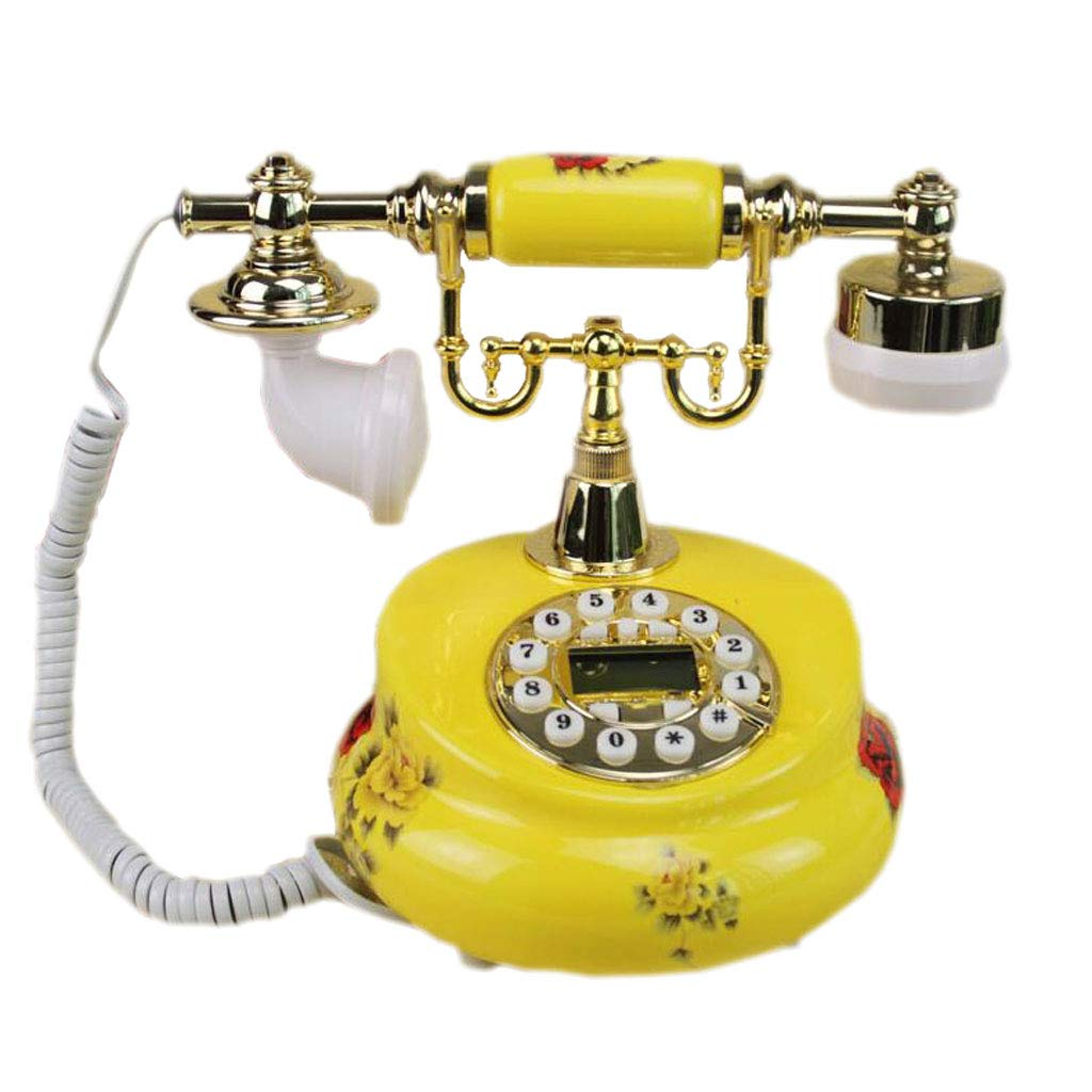 LCM Yellow Retro Mobile Phone Handmade Flower Fat Metal Button Style Rural Fashion Creative Seat European Home Office by LCM