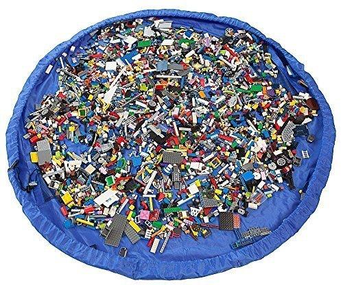 Katomi rápidamente se precipita en un bolso - Ideal para Lego, Duplo y otros juguetes de los niños para una limpieza más rápida! Atlantic Blue (en gran 150cm)