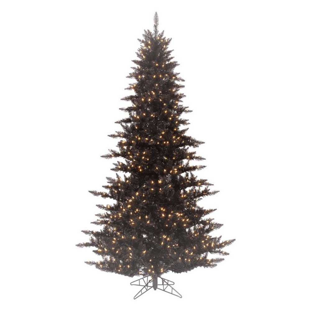 Artificial Christmas Tree. 12ft Fake Xmas Black Fir Looks Stylish, Graceful & Natural With It's Dense, Lush, Foliage & Clear Lights. Slim Shape Saves Space, Great For Indoor Holiday Season Party Decor