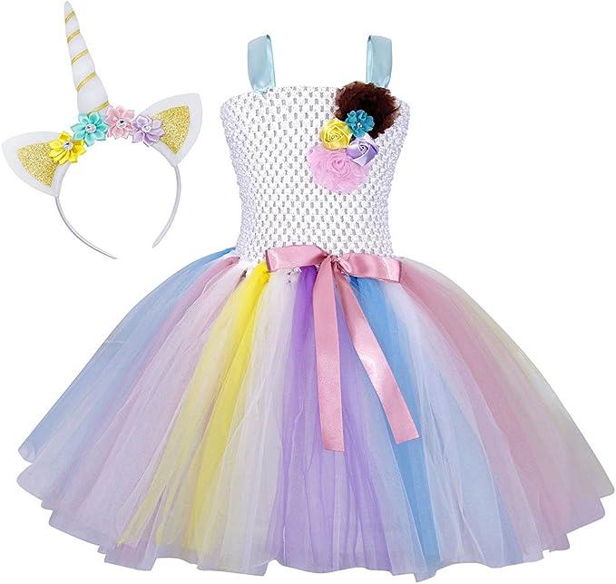AmzBarley Unicornio Vestidos Princesa Niña Fiesta de Tul Tutu con ...