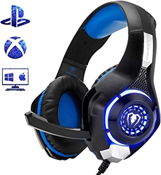 Amazon Com Beexcellent Gaming Headset For Ps4 Xbox One Pc Mac Controller Gaming Headphone With Crystal Stereo Bass Surround Sound Led Light Noise Isolation Microphone Electronics