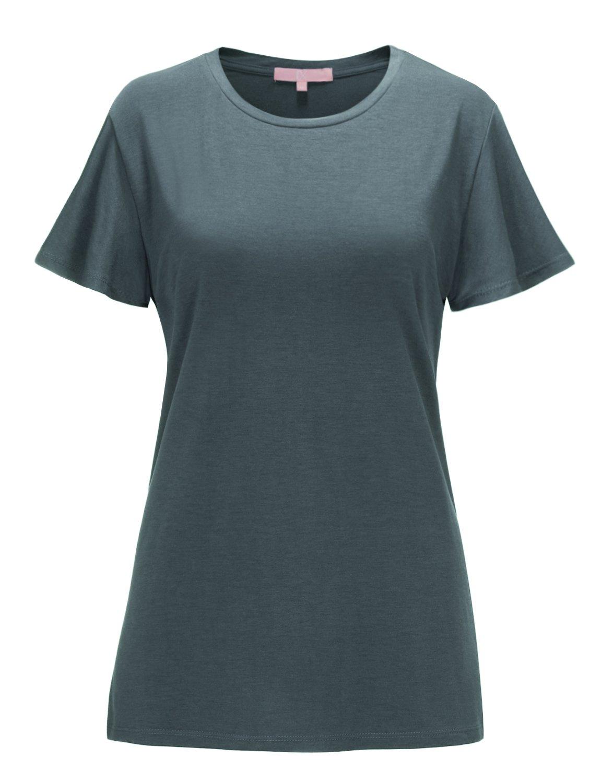 Regna X Women's Short Sleeve V Neck Loose Flowy Comfy Tunic Shirts Grey XL