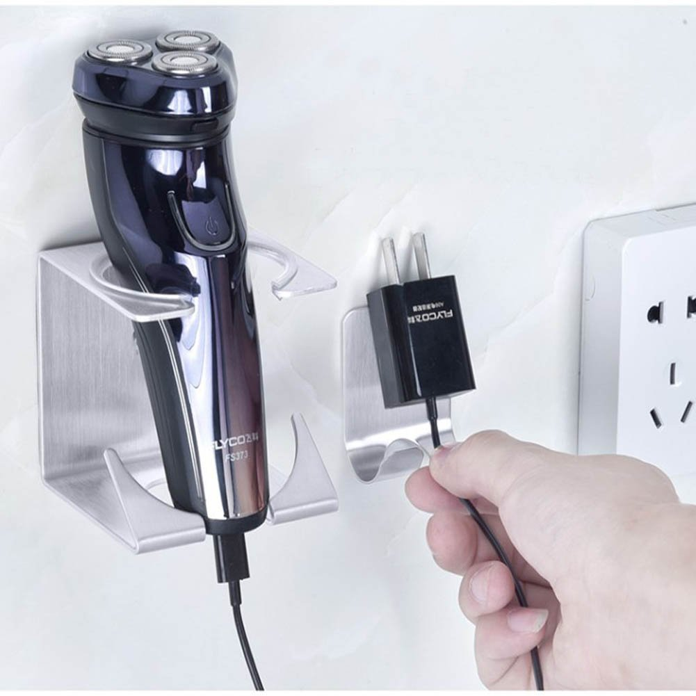 Eforlike 1 Pcs Stainless Steel Self Adhesive Creative Design Razor Holder Stand for Shaving Tool
