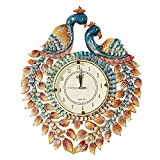 999STORE Indian Vintage Decorative Peacock Hand Painted Rajasthani Art Wooden Wall Hanging Clock/Antique Royal Designer Handcrafted MDF Silent Clock Review