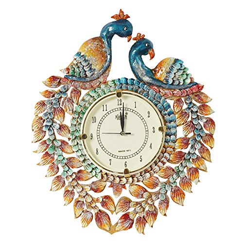 999STORE Indian Vintage Decorative Peacock Hand Painted Rajasthani Art Wooden Wall Hanging Clock/Antique Royal Designer Handcrafted MDF Silent Clock