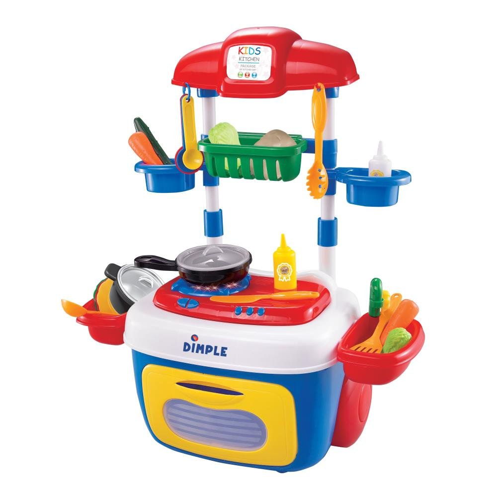 Dimple On The Go Carrier Toy Kitchen Set (30-Piece Set) with Lights and Sounds by Dimple