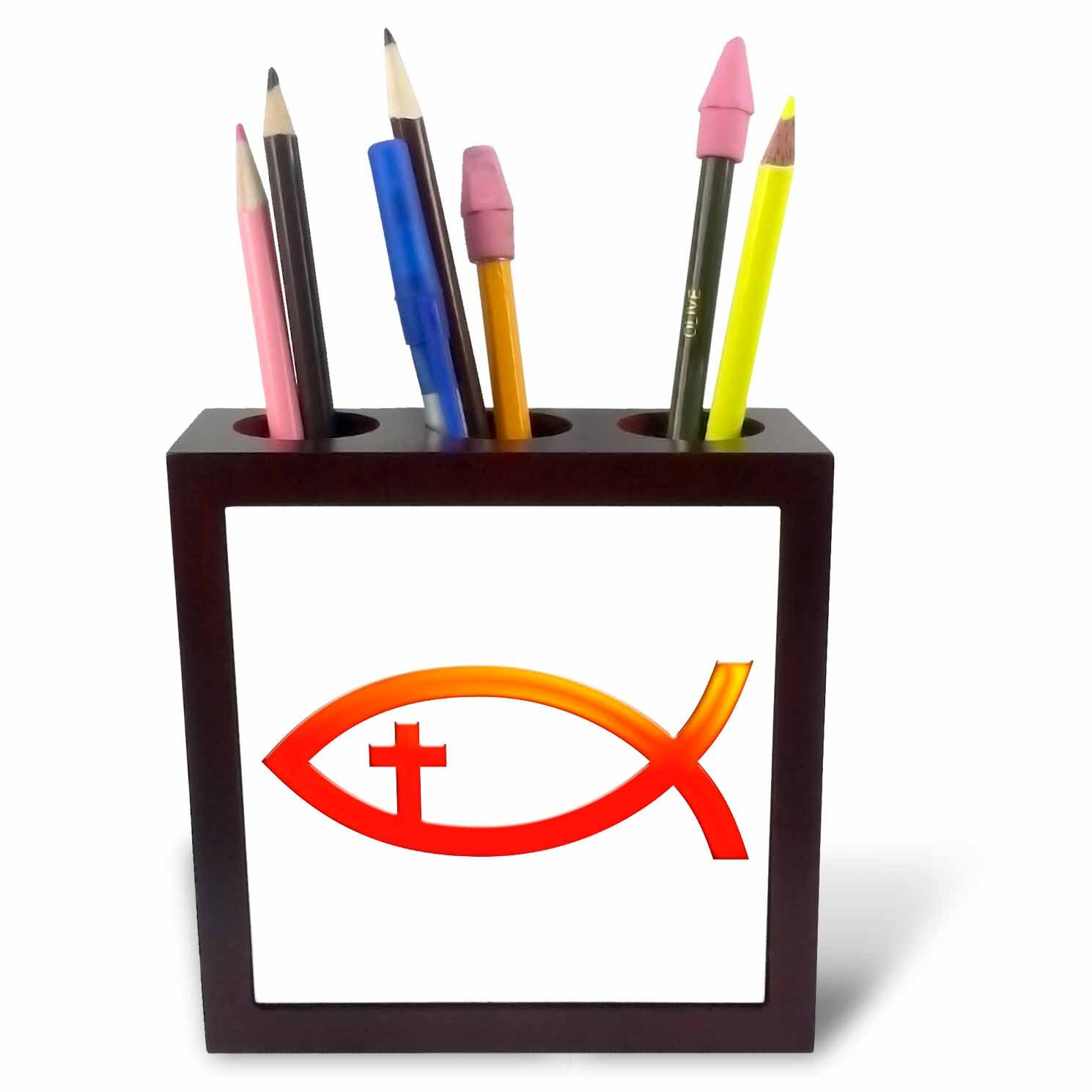 3dRose ph_41752_1 Christian Fish Symbol with Cross 'Red' Tile Pen Holder, 5-Inch by 3dRose