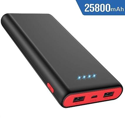 Amazon.com: Cargador portátil de batería externa de 25800 ...