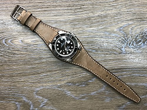 Handmade Real Leather cuff strap   Leather Cuff watch band   Cuff Band   Vintage Brown Leather Cuff watch Strap for all Rolex, IWC in 20mm lug - Rolex Leather Band