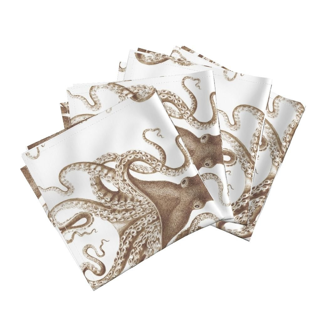Roostery Spa Ikat Linen Cotton Dinner Napkins Octopus Oasis in Sepia by Willowlanetextiles Set of 4 Dinner Napkins