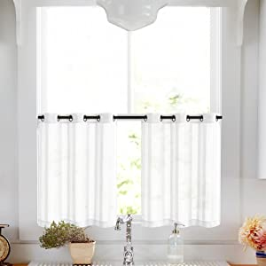 Kitchen Tier Curtains 24 inch White Tier Curtains for Bathroom Striped Cafe Curtains Sheer Small Curtains Grommet Top, 2 Panels