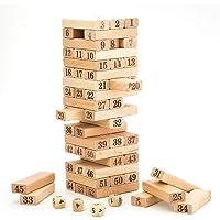 BestBuyToy 51 Pcs Challenging 4pcs Dice Wooden Jenga Blocks Adults Strategy Game